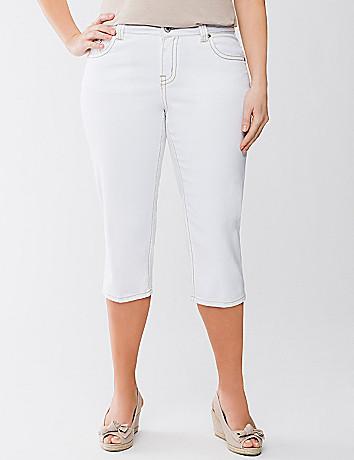 Embellished white jean capri