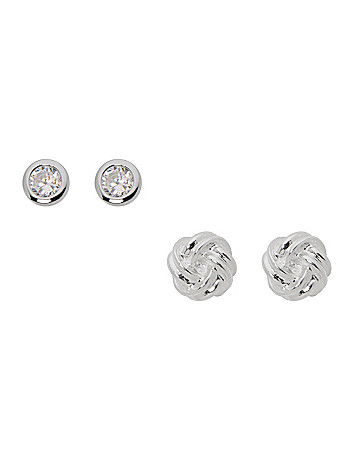 Knot & rhinestone earring duo by Lane Bryant