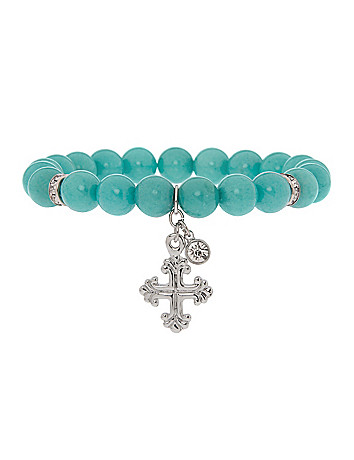 Semi precious bracelet with cross charm by Lane Bryant