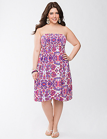 Batik smocked tube dress