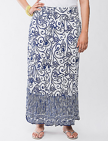 Scroll embellished maxi skirt