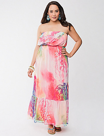 Chiffon ruffled maxi dress