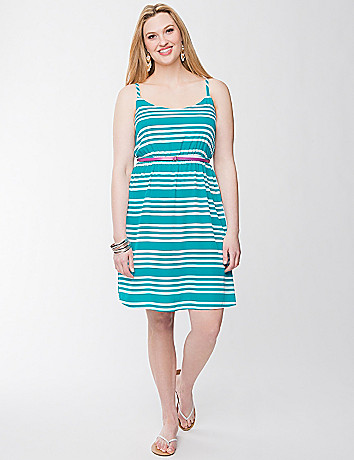 Striped tank dress with belt