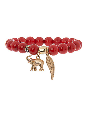 Semi precious bracelet with elephant charm by Lane Bryant
