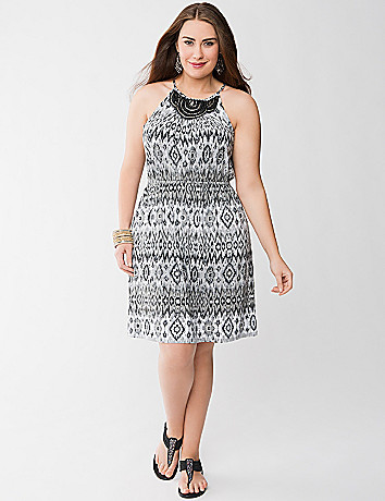 Print embellished knit dress