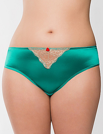 Foiled lace hipster panty