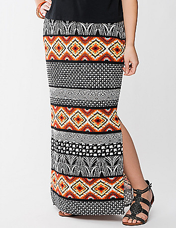 Tribal print column skirt