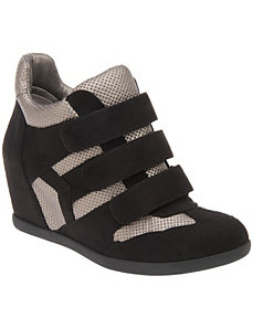 Metallic wedge sneaker