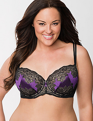 High contrast lace balconette bra