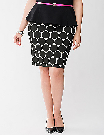 Lane Collection polka dot pencil skirt