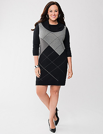 Argyle cowl neck sweater dress