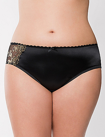 Gold embroidered hipster panty