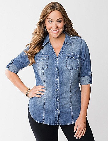 Full Figure Denim Shirt