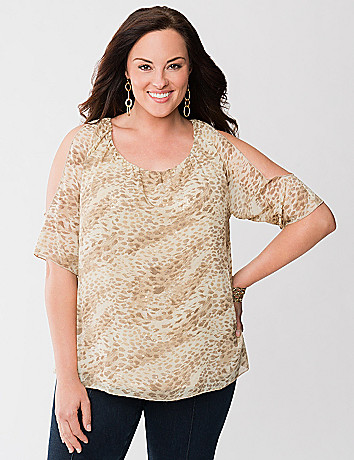 Lane Collection cold shoulder top