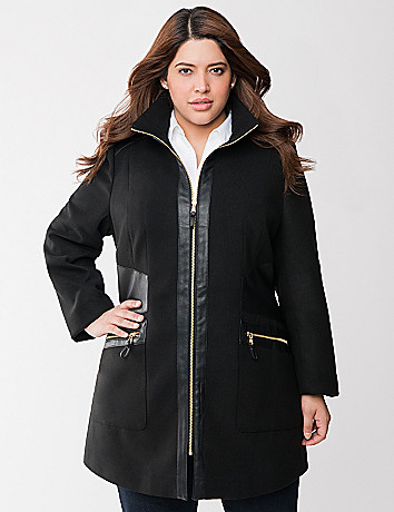 Faux leather trim coat