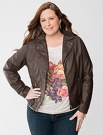 Plus Size Faux Leather Moto Jacket by Lane Bryant