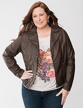 Plus Size Faux Leather Moto Jacket by Lane Bryant