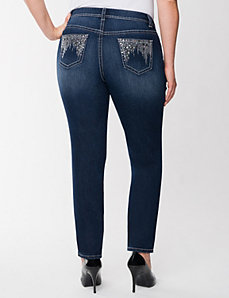 Embellished destructed skinny jean