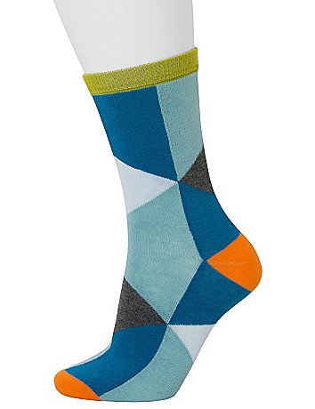 Solid and colorblock crew socks 2 pack
