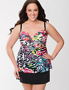 Floral swim tank with built-in balconette bra