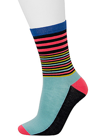 Solid and striped crew socks 2 pack