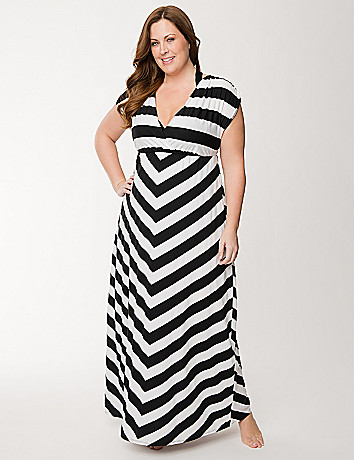 Striped maxi swim cover up