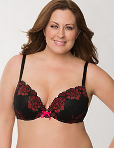 Rose embroidered plunge bra