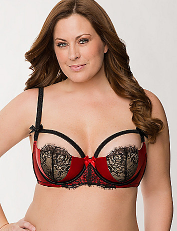 Satin & lace strap French balconette bra