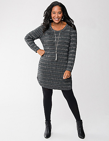 Plus Size Metallic Striped Sweater Dress