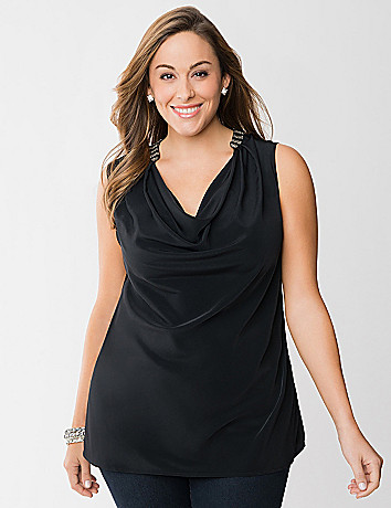 Beaded drape neck tunic