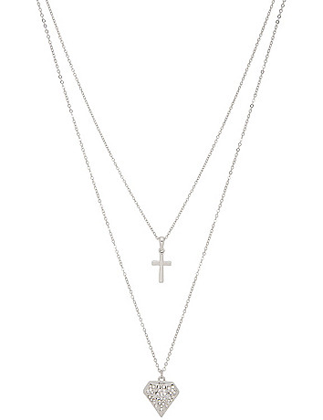 Cross & diamond charm necklace duo by Lane Bryant