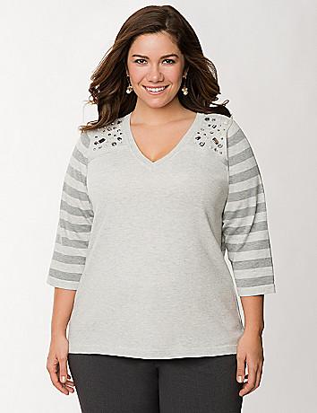 Rhinestone shoulder striped sweater