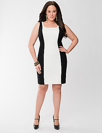 Lane Collection colorblock ponte sheath dress