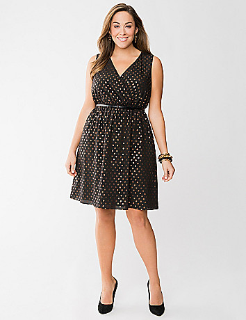 Bronze dot surplice dress