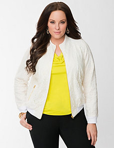 Lane Collection lace baseball jacket