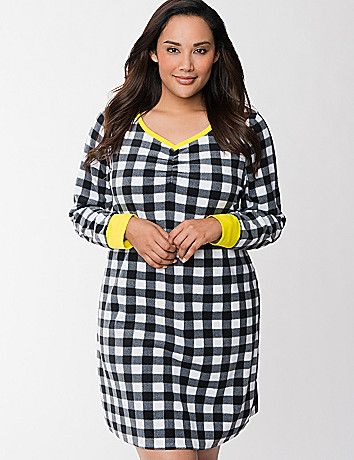Checkered velour sleep shirt