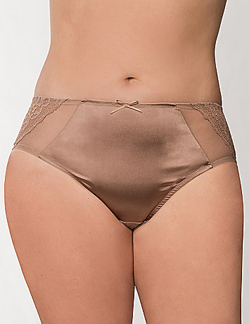 Illusion mesh & lace hipster panty