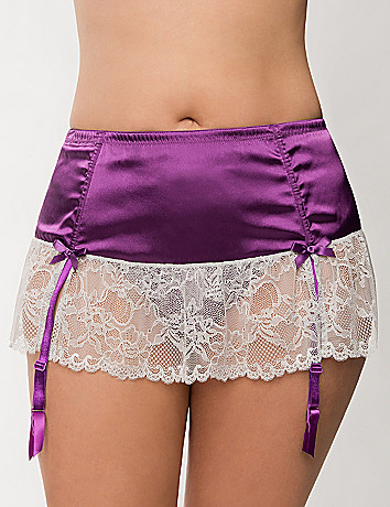 Plus Size Satin & lace garter skirt