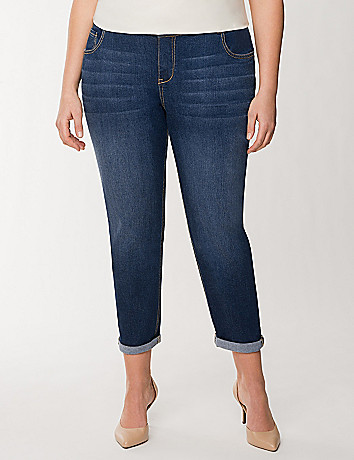 Dark wash rolled cuff weekend jean