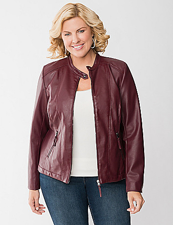 Cinched back faux leather jacket