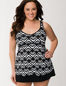 Geo print swim tank with built-in no-wire bra