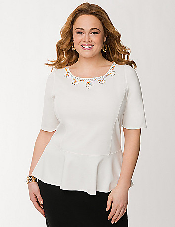 Embellished ponte peplum top