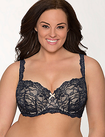Lace long line bra