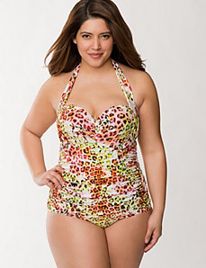 Animal maillot with built-in balconette bra
