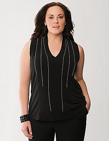 Lane Collection shot bead embellished top