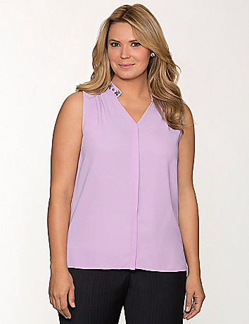 Plus Size Embellished Sleeveless Blouse by Lane Bryant