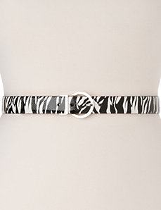 Zebra & patent reversible belt