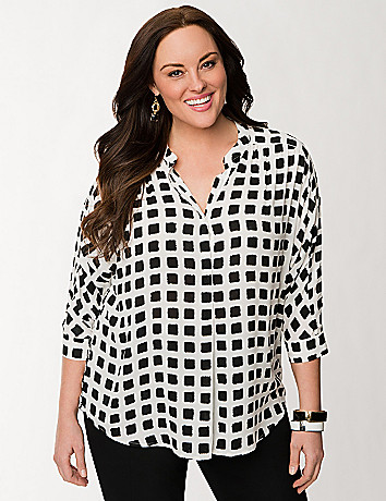Checkered tunic blouse