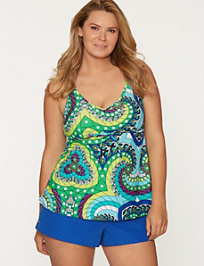 Medallion print swim tank with built-in no wire bra