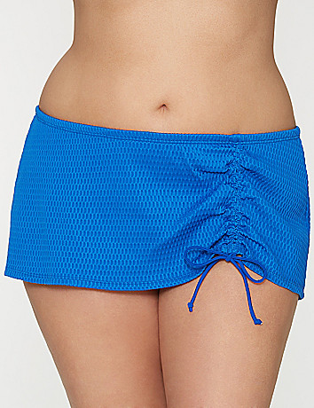 Textured drawstring swim skirt